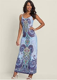 paisley print maxi dress