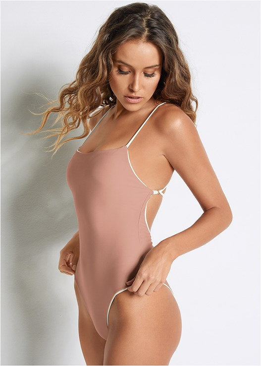 VERSATILITY BY VENUS ™ REVERSIBLE ONE-PIECE,STRAPPY ROMPER COVER-UP,PANAMA HAT
