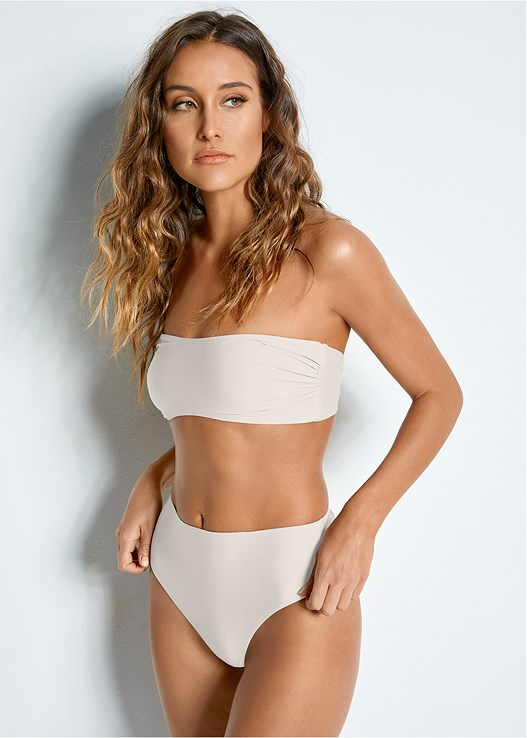 VERSATILITY BY VENUS™  REVERSIBLE BANDEAU TOP,VERSATILITY BY VENUS ™ REVERSIBLE RETRO BOTTOM,VERSATILITY BY VENUS ™ BANDED BRAZILIAN BOTTOM