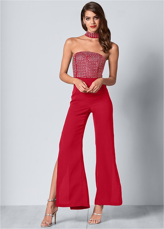 EMBELLISHED DETAIL JUMPSUIT,WIRELESS RIBBED BANDEAU BRA,HIGH HEEL STRAPPY SANDALS