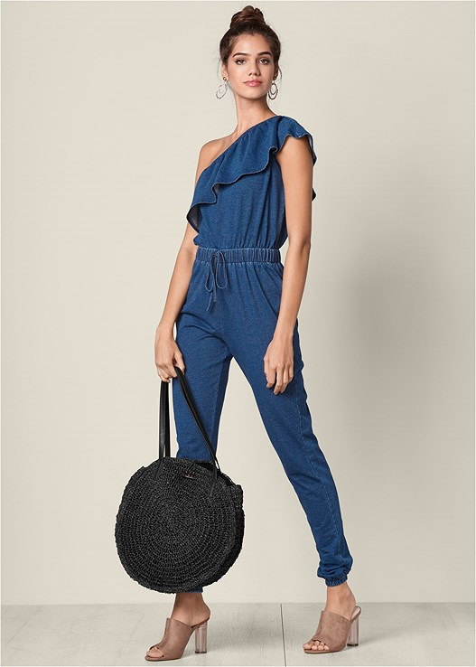 FRENCH TERRY JUMPSUIT,LUCITE HEEL MULES,BEADED HOOP EARRINGS,CIRCULAR STRAW TOTE BAG