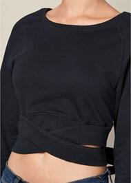 Alternate View Crop Top Wrap Sweatshirt