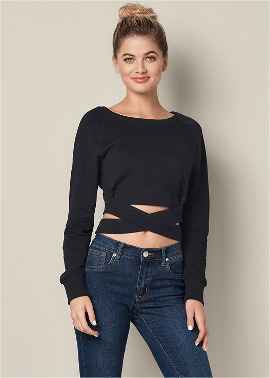 CROP TOP WRAP SWEATSHIRT,COLOR SKINNY JEANS