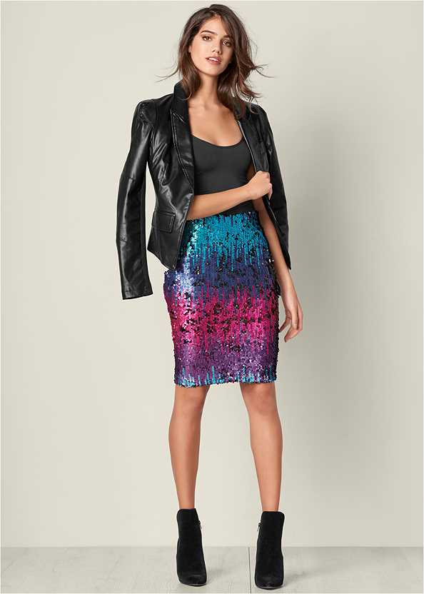 Sequin Skirt,Basic Cami Two Pack