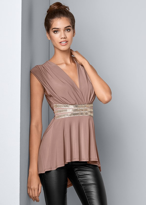 Embellished Waistband Top,Faux Leather Pants,High Heel Strappy Sandals