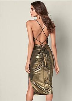 drape detail metallic dress