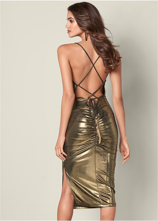 DRAPE DETAIL METALLIC DRESS,HIGH HEEL STRAPPY SANDALS