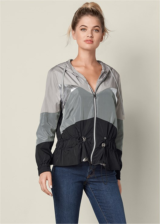 METALLIC DETAIL RAIN JACKET,COLOR SKINNY JEANS