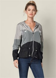 Front View Metallic Detail Rain Jacket