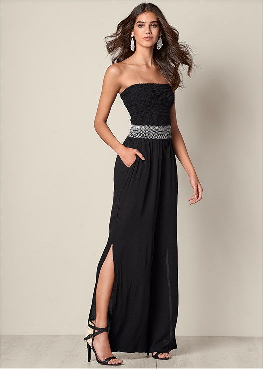SIDE SLIT WIDE LEG JUMPSUIT