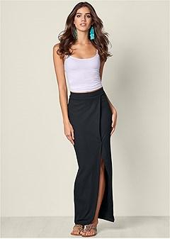 ribbed long skirt