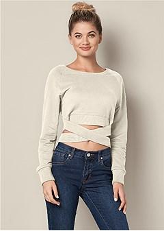 crop top wrap sweatshirt