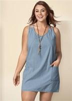 plus size chambray mini dress