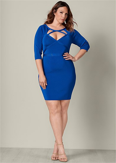 Plus Size Bandage Cut Out Dress