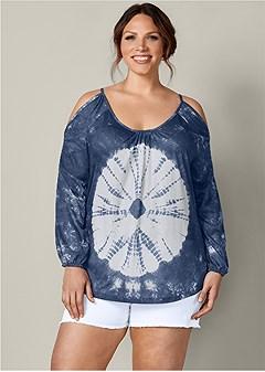 plus size casual cold shoulder top