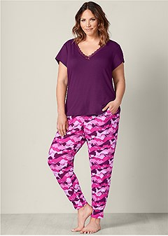 plus size printed jogger pant set