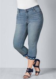 Front View Star Cuff Capri Jeans
