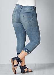 Back View Star Cuff Capri Jeans