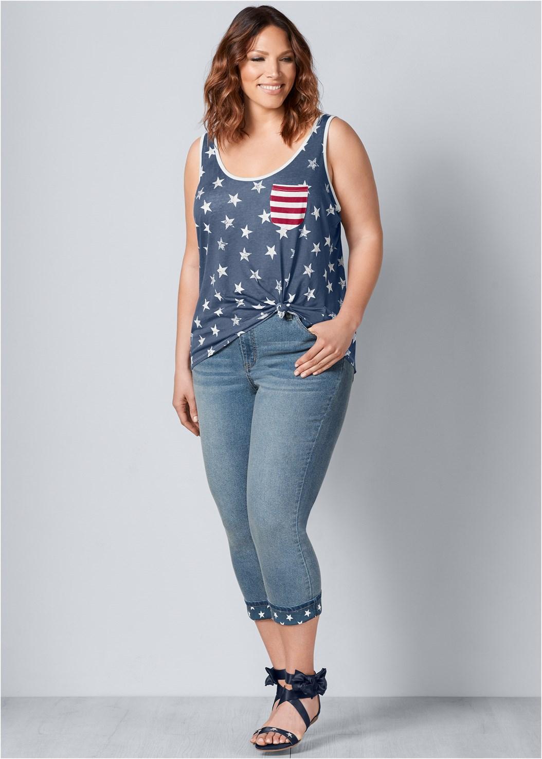 Star Cuff Capri Jeans,Stars And Stripes Knit Top