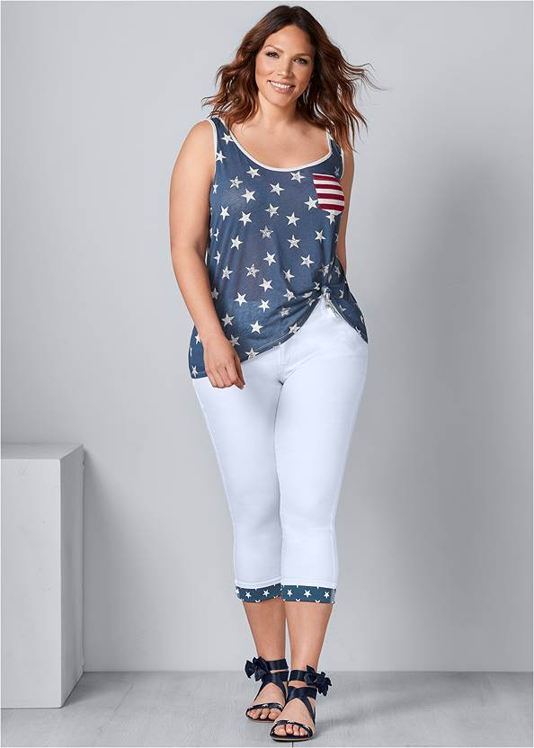 Star Cuff Capri Jeans,Seamless High Neck Top,Tassel Hoop Earrings