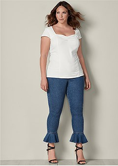plus size ruffle hem jeans