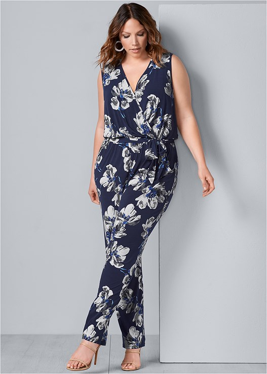 58ecef1f0e7e Plus Size PRINTED V-NECK JUMPSUIT in Navy Multi
