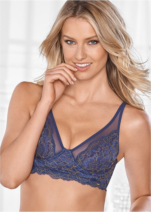 UNLINED LUREX LONGLINE BRA