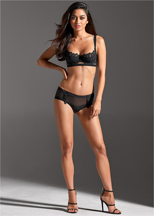 MESH BUCKLE HIPSTER PANTIES,VERY STRAPPY CONTOUR BRA,HIGH HEEL STRAPPY SANDALS