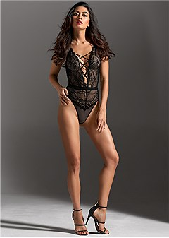 strappy lace thong bodysuit