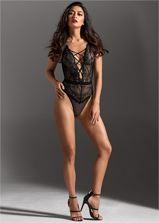 fb2529d01 Black STRAPPY LACE THONG BODYSUIT from VENUS