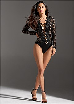 sheer lace up bodysuit