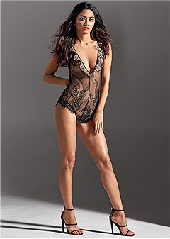 sheer lace cheetah bodysuit