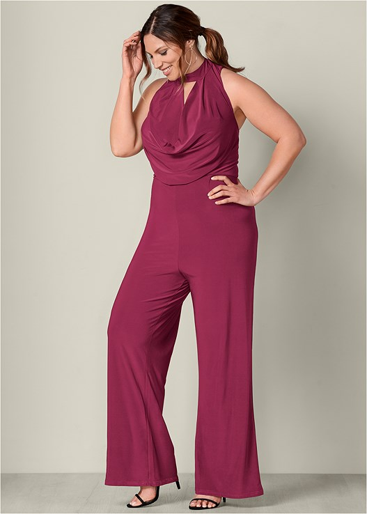 ba22e2fa441 Plus Size DRAPE DETAIL JUMPSUIT in Berry