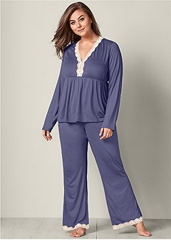 plus size lace trim pajama set