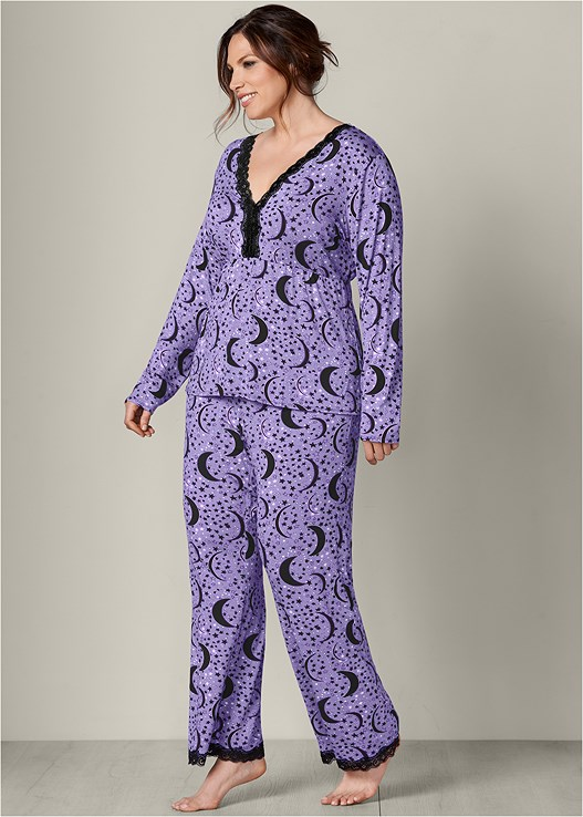 59c6ecc2e13 plus size lace trim pajama set