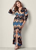 plus size faux wrap maxi dress