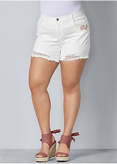 plus size crochet jean shorts