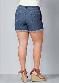 Back View Crochet Jean Shorts