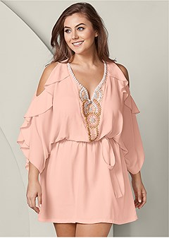 plus size embellished ruffle dress