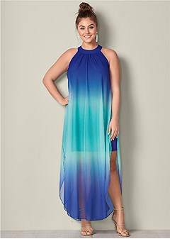 plus size ombre long dress