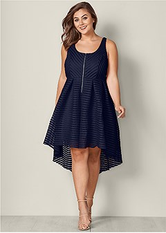 plus size high low zip detail dress