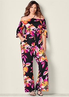 plus size neck detail jumpsuit