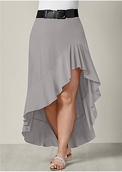 plus size belted high low skirt