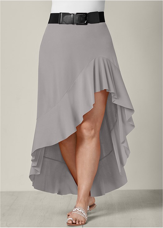 BELTED HIGH LOW SKIRT,SEAMLESS CAMI