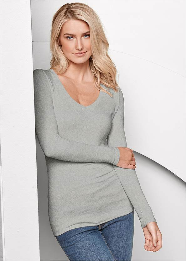 Ribbed V-Neck Top,Casual Bootcut Jeans,Wrap Stitch Detail Booties,Beaded Drop Earrings,Stud Detail Scarf