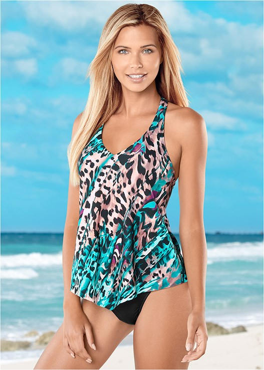 HANDKERCHIEF TANKINI,HIGH WAIST MODERATE BOTTOM,HIGH WAIST FULL CUT BOTTOM