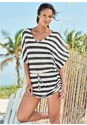 Front View Striped Drawstring Tunic