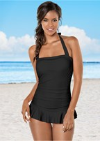 ruched halter one-piece