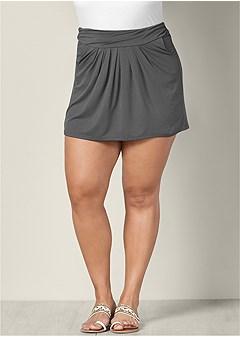 plus size easy pleated mini skirt