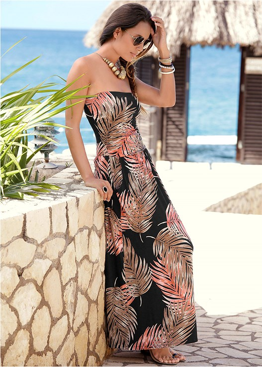 STRAPLESS MAXI DRESS,BEADED HOOP EARRINGS,CRISSCROSS BRIM FLOPPY HAT